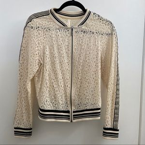 Xhilaration Lace Striped Cream Black Jacket Size M